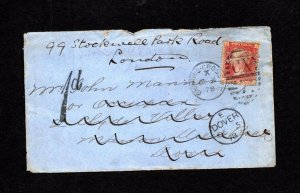 PENNY RED PLATE 1?7 USED ON COVER WITH 'C&C' (?) PERFIN