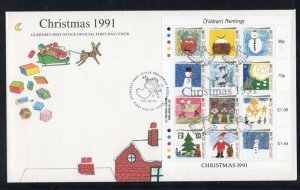 Guernsey Sc 464 1991  Christmas Children's Paintings stamp sheet on FDC