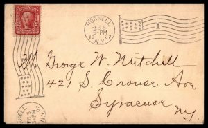 US Sc 301 (1907) Postal History Cover Hornell NY FANCY Flag #1 Cancellation F-VF