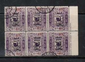 Korea #37g (SG #47a) (P.S.C. #29) Used Block Of Six With Three Values Inverted