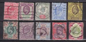Great Britain # 128-133, 135-138, Incomplete Set, Used