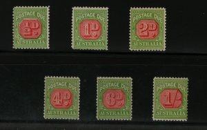 Australia #J57 - #J59 #J61 - #J63 Mint Fine - Very Fine Never Hinged