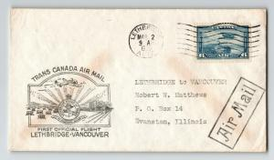 Canada 1939 First Flight Cover Lethbridge to Vancouver (Can-301ai} - Z12833