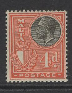 MALTA SG163 1926 4d BLACK & RED MTD MINT