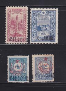 Cilicia 2, 10, 23, 25 MH Overprints