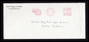 US COVER RED METERED 3¢ PITNEY-BOWES ⭐ SOUTHERN DAIRIES ⭐ WASHINGTON DC 1936