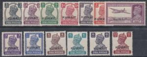 KUWAIT  1945  S G 52 - 63  SET OF 13  MH  CAT £88