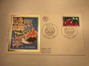 France Colorano silk FDC, 5 février 1977, Réunion, 974 Saint-Denis