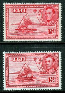 Fiji KGVI 1938 1 1/2d Carmine Die I & II SG251/252a Mint Lightly Hinged MLH