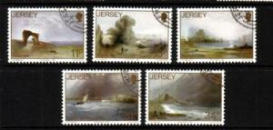 Jersey Sc 437-41 1987 Le Capelain Paintings stamp set used
