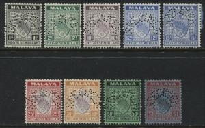 Malaya Negri Sembilan 1935 9 stamps to $1 perforated SPECIMEN (JD)