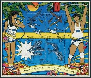 Nauru B1 sheet,MNH. Olympics Atlanta-1996:Birds,Dolphins.Sports development.