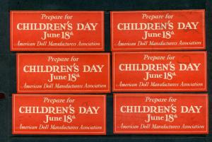 6 VINTAGE PREPARE FOR CHILDREN'S DAY POSTER STAMPS AMERICAN DOLL MANUFACTURERS