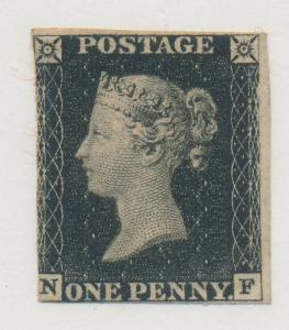 Great Britain Stamp Scott #1 Penny Black, Mint/Unused, Two Good Margins, Nice...