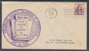 US Planty 724-7 FDC. 1932 3c William Penn, FIRST CACHET Wm. L. Gibson