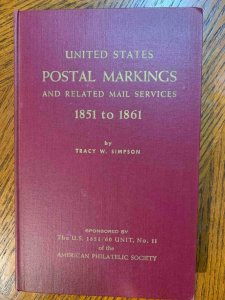 US Postal Markings 1851-1861 by Simpson 1959, Stamp Philately Book