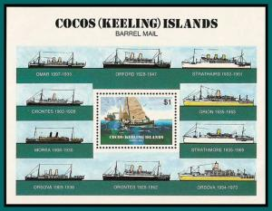 Cocos 1984 Barrel Mail, MS MNH  #114,SGMS114