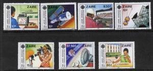 Zaire 1139-45 MNH World Communications Year, Internet, Satellite, Bird, Bus