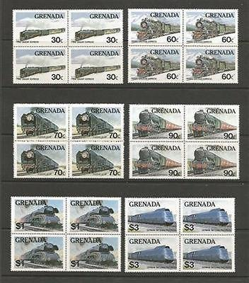 Grenada MNH sc# 1120-5 TRAINs  Blocks of 4