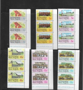 St.Kitts,Nevis and Anguilla 1978 Definitive set in strips of 3 u/mint