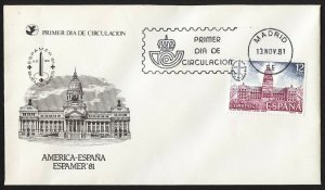 wc070 Spain 1981 America FDC first day cover ESPAMER '81