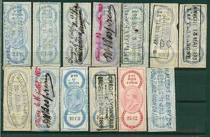 Belgium 1885 /1900 range of 13 revenue issues as illustrted diff rates FU Stamps