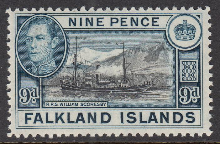Falkland Islands KGVI 1938 9d Black Grey-Blue SG157 Mint Never Hinged