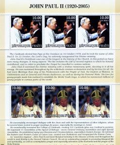 Haiti 2005 POPE JOHN PAUL II & LECH WALESA Sheet Perforated Mint (NH)