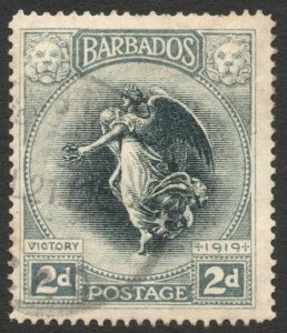 BARBADOS-1920-21 Victory 2d Black & Grey Sg 204 GOOD USED V46264