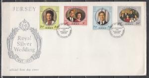 Jersey, Scott cat. 73-76. Royal Silver Wedding issue. First day cover. ^