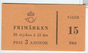 SWEDEN (H116B2) Scott 515a, 15ore Gustav VI booklet