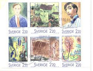 Sweden Sc 1699a 1988 Paintings stamp booklet pane used