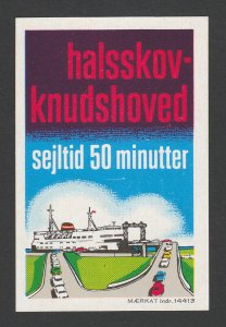 REKLAMEMARKE POSTER STAMP LABEL HALSSKOV-KNUDSHOVED SEJLTID 50 MINUTTER