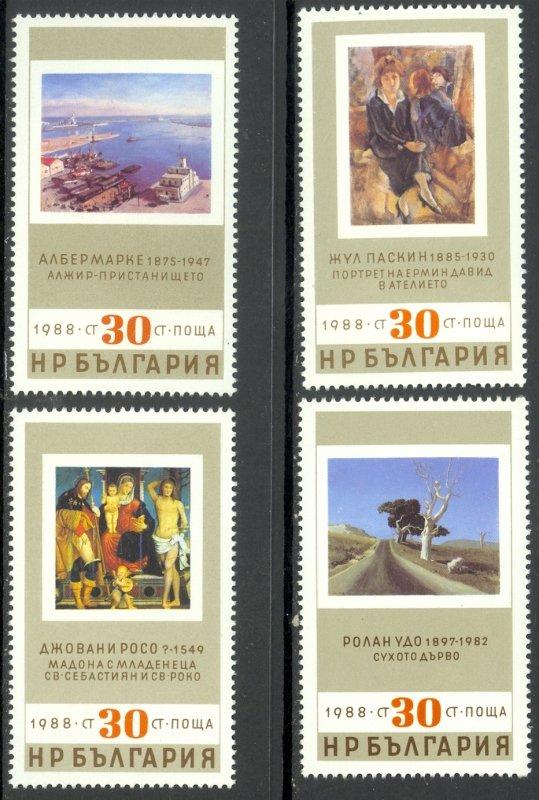 Bulgaria MNH 3357-60 Art Paintings 1988 SCV 2.40