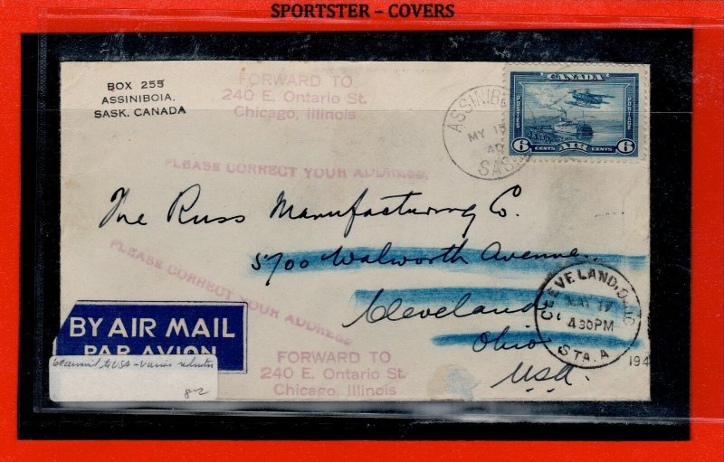 ASSINIBOIA SASK air mail cover to USA PLEASE CORRECT YOUR ADDRESS 1940 COVER