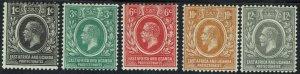 EAST AFRICA & UGANDA 1921 KGV 1C - 12C WMK MULTI SCRIPT CA