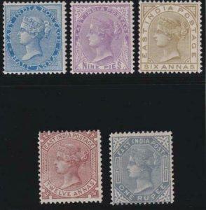 India 1873-1876 SC 31-35 Mint Set