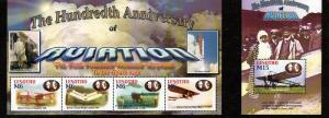 Lesotho - 2004 Powered Flight 4 Stamp Sheet + S/S  12E-029
