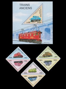 MNH. TRIANGULAR SHAPED STAMP SET WITH SOUVENIR SHEET TOPIC: TRAIN