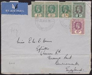 GILBERT & ELLICE IS 1938 airmail front with GV vals to 1/- ex Ocean Is.....68829