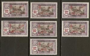 French India 191-7 Cer 198//216 MLH 1943 SCV $85.00
