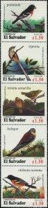 El Salvador 1996 Sc 1446 Birds Grosbeak Flycatcher Warbler Kestrel Oriole CV $18