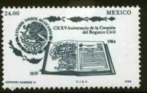 MEXICO 1375, 125th Anniv of the Civil Registry Office MNH