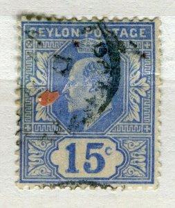 CEYLON; 1903 early Ed VII issue fine used 15c. value