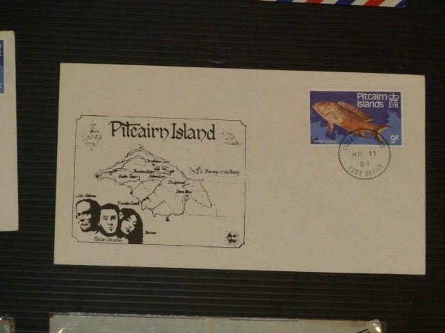 Pitcairn Island fish cover map/explorers cachet (516bax)