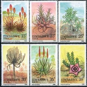 ZIMBABWE 1988 - Scott# 566-71 Aloes Set of 6 NH