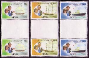Nevis Royal Wedding 3v gutter pairs vertical SG#72=76