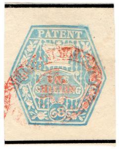 (I.B) QV Revenue : Patent Office 1/- (1868) sideways watermark