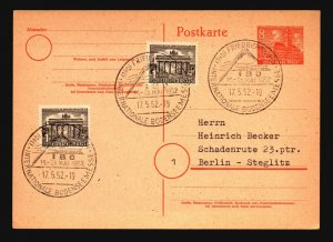 Germany SC# 9N42 on 1952 Uprated Event Card - L995