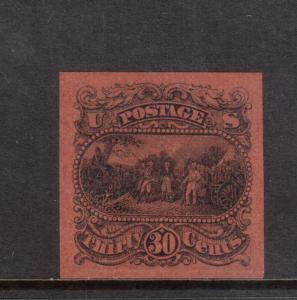 USA #121-E1f Extra Fine Plate Essay In Orange